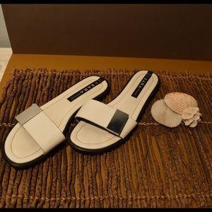 Zara black and white sandals